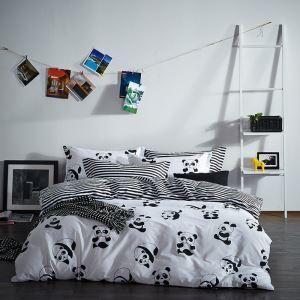 (Entrepôt UE) Simple coton literie  panda rayure points blanc et noir quatre pièces ensemble 200*230cm pour chambre