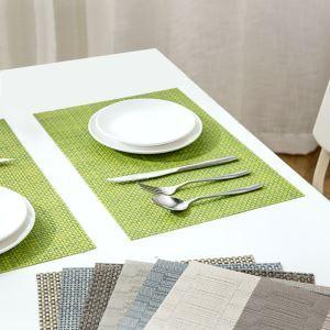 (Entrepôt UE) Set de table PV isolation étanche à l'eau chaude contre table mat pad Tapis Bol plaque mat napperon Lot de 4