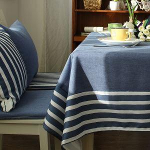 (Entrepôt UE) Méditerranéen Bleu-gris Frais nappe de table coton linge épissure Table basse nappes en tissu Moderne simple rayure