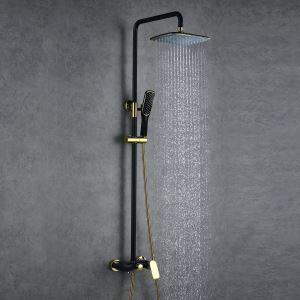 (Entrepôt UE) Style Européen moderne  en cuivre Ensemble de douche robinet mitigeur noir+d'or