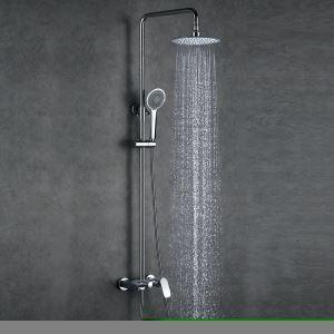 Style Européen moderne  en cuivre Ensemble de douche robinet mitigeur blanc argenté