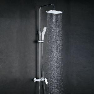 Colonne de douche avec robinetterie en cuivre chromé blanc argent pour salle de bains moderne