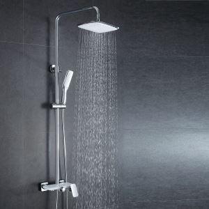 Style Européen moderne  en cuivre Ensemble de douche robinet mitigeur blanc+blanc argenté