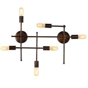Style américain antique industriel Fer plusieures lampes applique murale