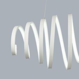 (Entrepôt UE) Lustre design suspension intérieur moderne simple métal+plastique Blanc / blanc chaud LED--1*50W Luminaire cuisine salon chambre restaurant