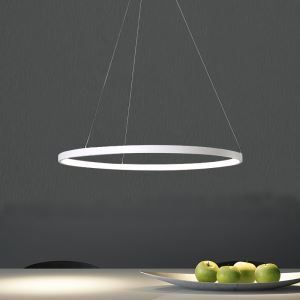 Suspension LED SMD 30W D80cm Lustre Blanc Moderne Simple Métal Acrylique