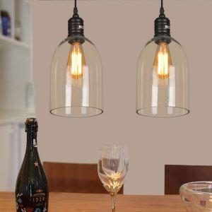 Suspension en verre dôme H35cm luminaire cuisine salle pas cher