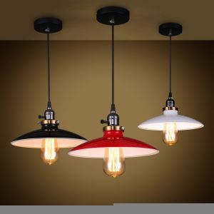 (Entrepôt UE) Lustre style américain campagne industriel rétro rustique Luminaire cuisine forme UFO trois modèles pas cher