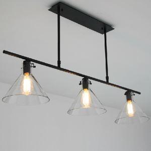 (Entrepôt UE) Suspension à 3 lampes style américain campagne industriel rétro rustique en fer noir