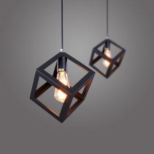 (Entrepôt UE) Suspension design style américain campagne industriel rétro rustique en fer noir cube lampe de couloir