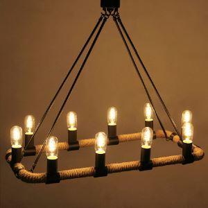 (Entrepôt UE) Suspension à 10 lampes style américain campagne industriel rétro rustique en fer chanvre rectangulaire