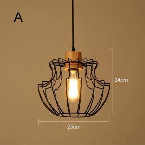 (Entrepôt UE) Suspension en bois style américain campagne industriel rétro rustique en fer une lampe 3 modèles