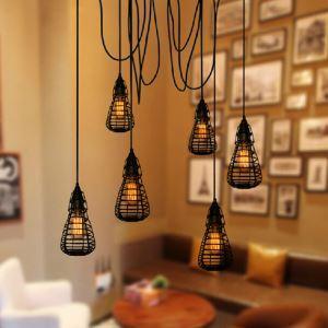 (Entrepôt UE) Style américain campagne industriel rétro rustique Matériel Fer créatifs six têtes cages suspension
