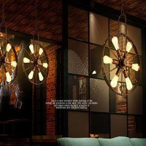 (Entrepôt UE) Suspension à 6 lampes style américain campagne industriel rétro rustique en fer