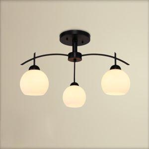 (Entrepôt UE) Lustre à 3 lampes verre ronde suspension Luminaire chambre style américain campagne industriel rétro rustique blanc