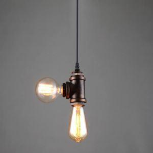 (Entrepôt UE) Suspension style américain campagne industriel rétro rustique en fer à 2 lampes