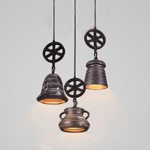 Style américain campagne industriel rétro rustique Matériel Fer décoration céramique suspension 3 modèles