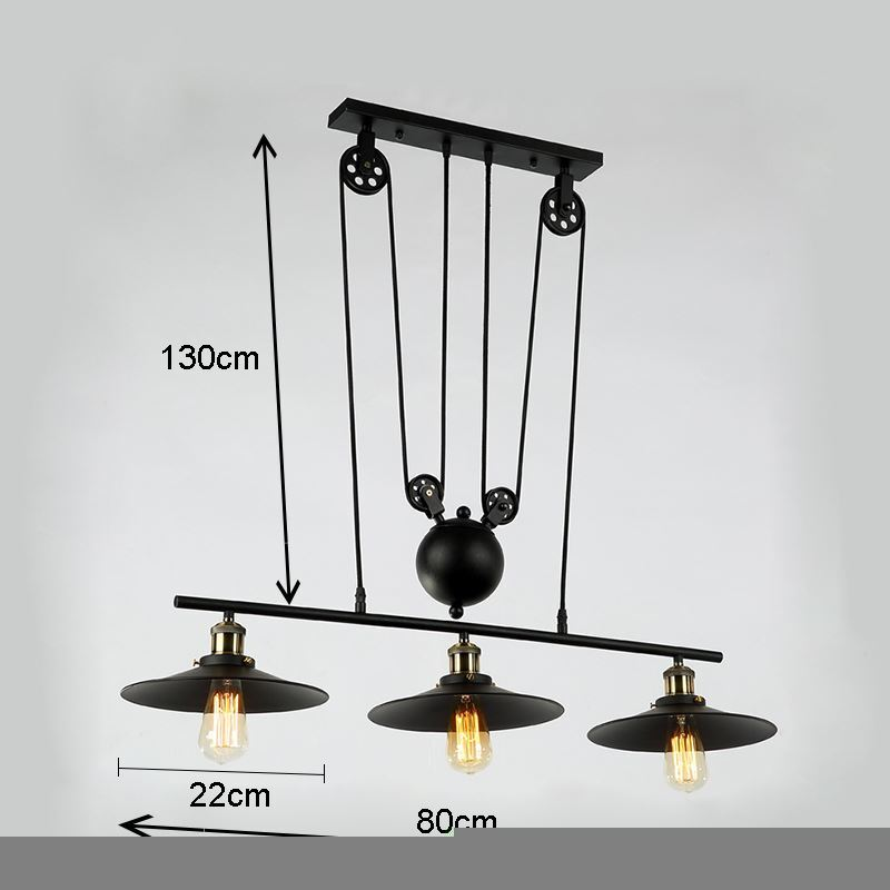 suspension 3 lampes en fer l 80 cm industriel rustique pour salle manger. Black Bedroom Furniture Sets. Home Design Ideas