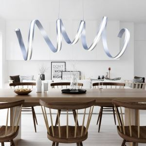 (Entrepôt UE) Moderne simple aluminium + acrylique chrome Modèles de navette temps et d'espace LED suspension