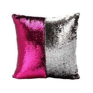 (Entrepôt UE) (En Stock) Couleur sirène pailletée coussins oreiller reversible en Rose+Argent magique DIY Hôtel KTV voiture vente chaude