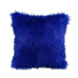 (Entrepôt UE) Bleu marine Haute imitation fourrure de renard oreiller de fourrure Coussins de fourrure recto verso