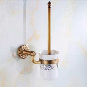 Porte brosse toilettes en laiton antique pour salle de bains H37cm