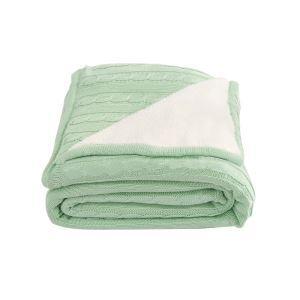 (Entrepôt UE) Plaid polaire vert et blanc 180*200cm pour chambre sofa canapé