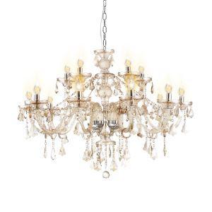Lustre Luxe Cristal Couleur Cognac 2 Niveaux à 15 lampes abat-jour en forme de bougie luminaire classique pour salon chambre hôtel