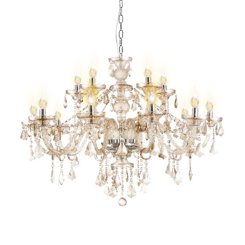 lustre baroque cristal 15 lampes d 95cm grand cognac luminaire pour salon. Black Bedroom Furniture Sets. Home Design Ideas