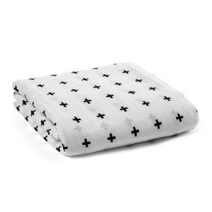 (Entrepôt UE) homelava conception indépendante, bébé sacs en coton noir et blanc serviette Cross Motif 120*120cm