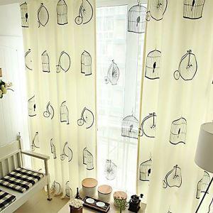 (Entrepôt UE) (Un panneau) copie moderne beige motif géométrique polyester et lin Enfants / Ados Rideaux-3
