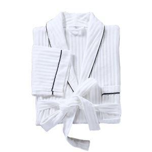 Peignoir kimono adulte rayure blanc
