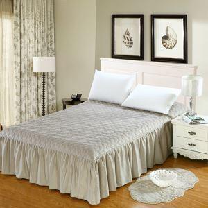 (Entrepôt UE) Literie minimaliste moderne Jupe de lit matelassé Gris 180*200cm