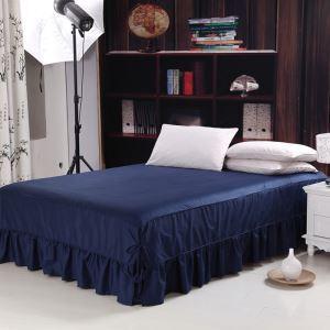 (Entrepôt UE) Literie minimaliste moderne 100% coton Jupe de lit Bleu foncé 150*200cm