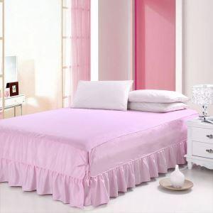 (Entrepôt UE) Literie minimaliste moderne 100% coton Jupe de lit Rose 150*200cm