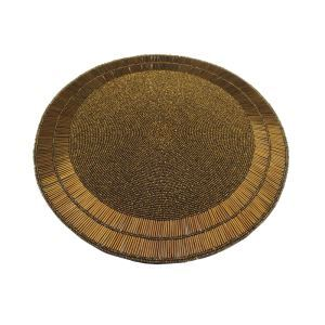 (Entrepôt UE)Set de table perlés à la main bronze jaune Perles de verre Haut de gamme napperon