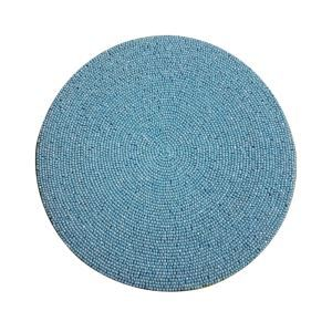 (Entrepôt UE)Set de table perlés à la main jaune bleu perles de verre vert Brodé napperon