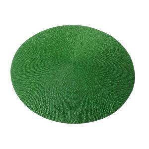 (Entrepôt UE)Set de table perlés à la main perles de verre vert Brodé napperon