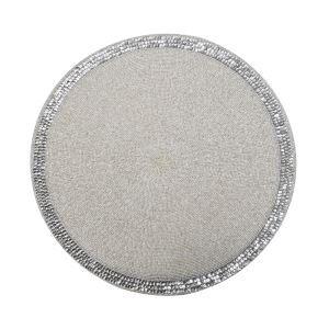 (Entrepôt UE)Set de table perlés à la main perles de verre blanc, broderie paillettes d'argent Haut de gamme de luxe napperon