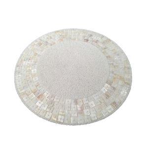 (Entrepôt UE)Set de table perlés à la main Coquilles perles de verre blanc Haut de gamme napperon