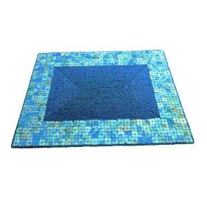 (Entrepôt UE)Set de table perlés à la main Perles de verre bleu avec bord de coquille Haut de gamme de luxe napperon rectangulaire