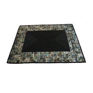 (Entrepôt UE)Set de table perlés à la main Perles de verre noir avec bord de coquille Haut de gamme de luxe napperon rectangulaire
