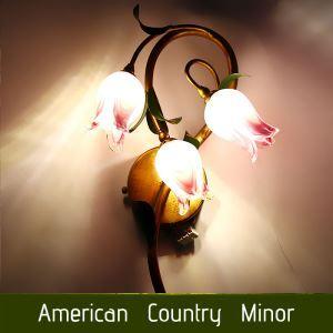 Style européen Vintage rétro Fer fuchsia tulipe abat-jour vernissé trois lumières LED Applique murale
