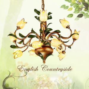 (Entrepôt UE) Style européen Vintage rétro Fer d'or tulipe abat-jour vernissé 12 lumières LED Lustre