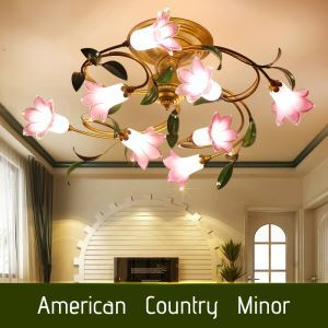Plafonnier LED à 8 lampes tulipes D60cm pour salon