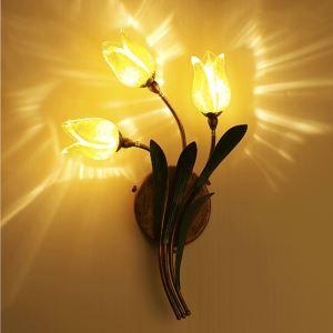 Style européen Vintage rétro Fer d'or tulipe abat-jour vernissé trois lumières LED Applique murale
