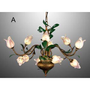 (Entrepôt UE) Style européen Vintage rétro Fer tulipe violet /d'or abat-jour vernissé 12 lumières LED Lustre 2 modèles
