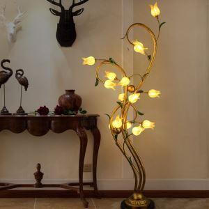 Style européen Vintage rétro Fer d'or tulipe/fuchsia tulipe abat-jour vernissé 十5 lumières LED Lampadaire 2 modèles