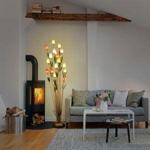 Style européen Vintage rétro Fer couleurs multiples tulipe abat-jour vernissé 21 lumières LED Lampadaire