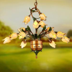LED Lustre Fer doré tulipe à 15 lampes luxe pour salon